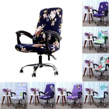 Funda giratoria para silla de ordenador de oficina cubierta de LICRA impresa funda de asiento elástico sillas de oficina extraíbles housse de chaise