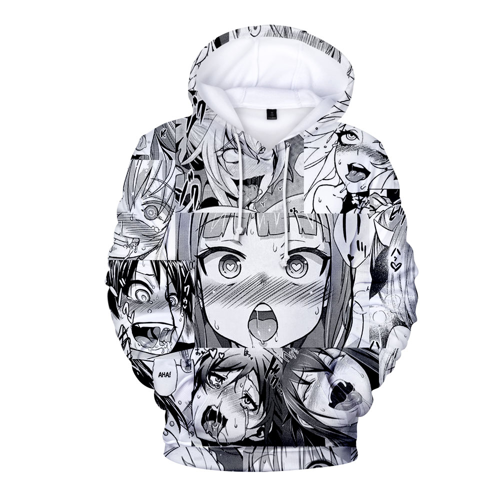Loose Casual Warm Hoodies Sweatshirt And Pant Ahegao 3D Print Men Womens Long Sleeve Hooded Sweatshirt Female Jumper Tracksuits
