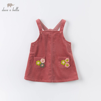 DBZ14794 dave bella autumn baby girl's princess floral strap dress lolita party suspenders dress toddler children clothes image