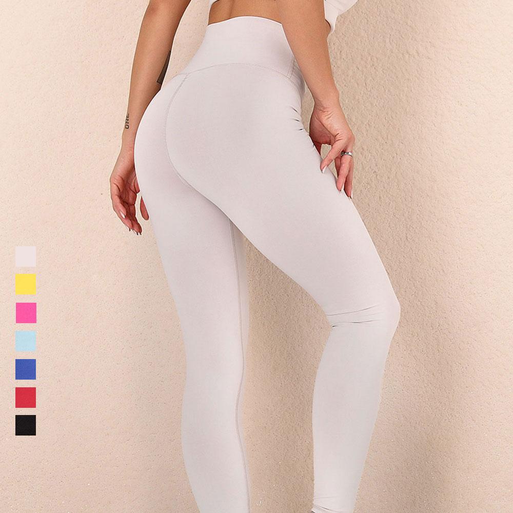 Штаны для йоги с высокой талией, Бесшовные штаны для тренажерного зала, фитнеса, бега, женские спортивные колготки Пуш-ап с пуш-ап, белые Легг...