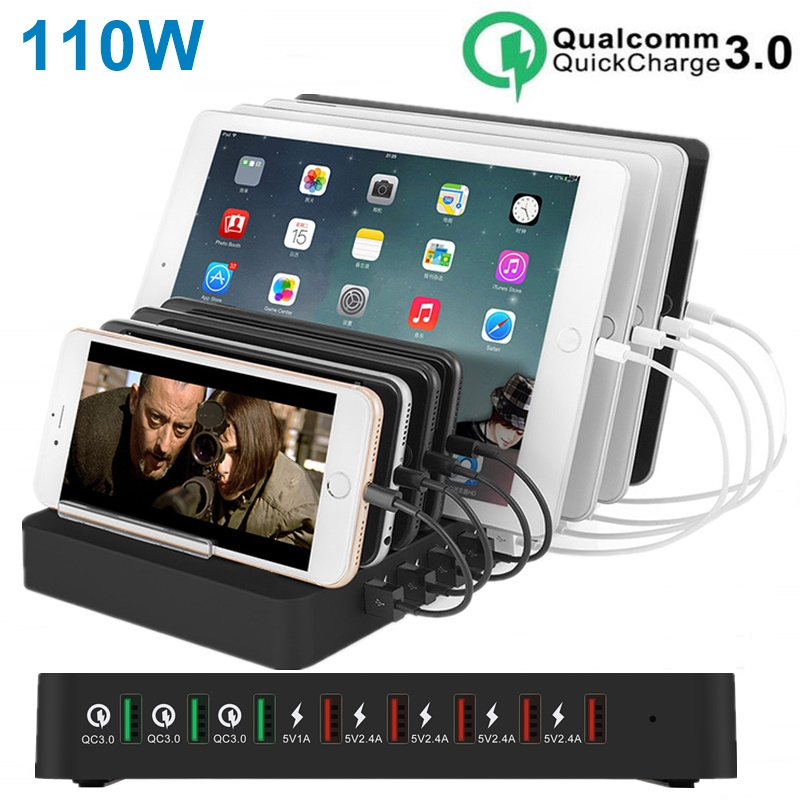 110W 8 Port USB <font><b>Charger</b></font> For iPhone 11 XS MAX XR Carregador Quick Charge 4.0 QC3.0 <font><b>Fast</b></font> Charging Dock Station For SAMSUNG Note 10 image
