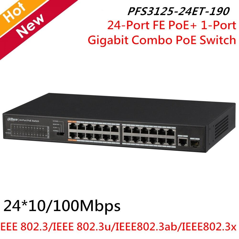 Dahua 24-Port FE PoE+1-Port Gigabit Combo PoE Switch 24*10/100Mbps PFS3125-24ET-190 Supports MDI/MDIX AC 100V~240V