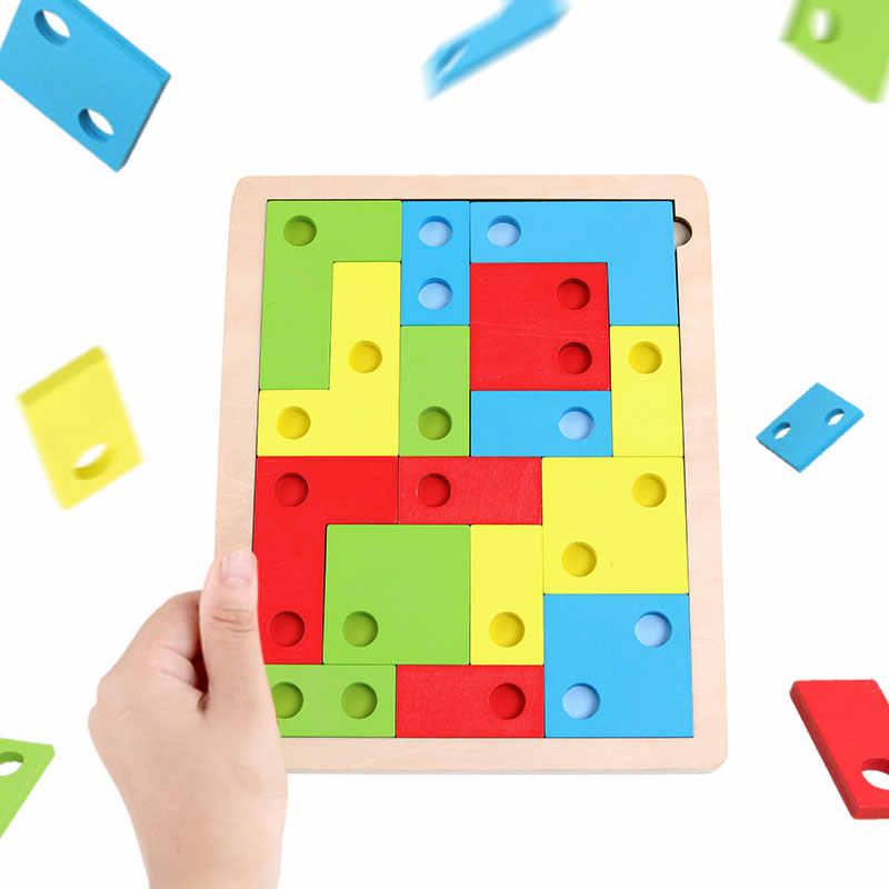 3D الاثاث الخشبية بانوراما مجلس اللعب تنغرم المخ دعابة بازل للأطفال اللعب تتريس لعبة تعليمية ألعاب الأطفال الخشب هدايا