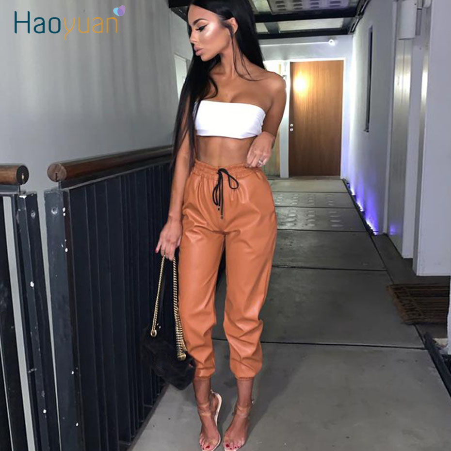 HAOYUAN 2020 New PU Leather Harem Pants Women Casual High Waist Elastic Faux Leather Trousers For Woman Elegant Bandage Pants