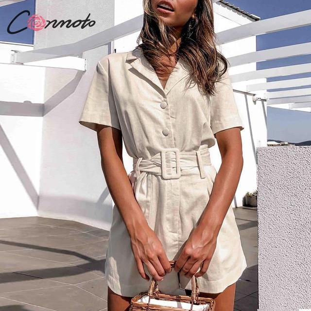 Conmoto כפתור חגורת עניבת קיץ plusysuits romper נשים סיבתי פשתן חוף playsuits romper לבן חוף קצר סרבל romper