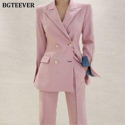 Элегантные женские брючные костюмы блейзер с вырезом куртка и брюки длиной до щиколотки OL стиль женские костюмы комплект из 2 предметов 2019 б...