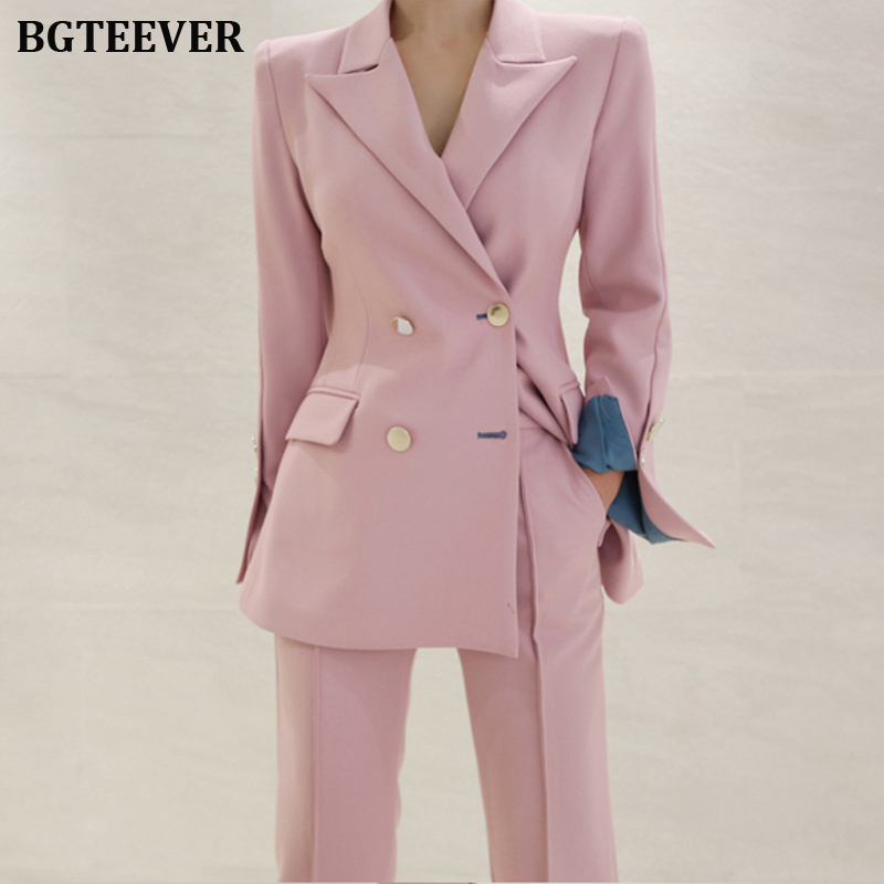 Elegant Women Pant Suits Notched Blazer Jacket & Ankle-length Pants OL Style Female Suits 2 Pieces Set 2019 Trouser Suit Set