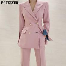 Elegant Women Pant Suits Notched Blazer Jacket & Ankle-length Pants OL Style Fem