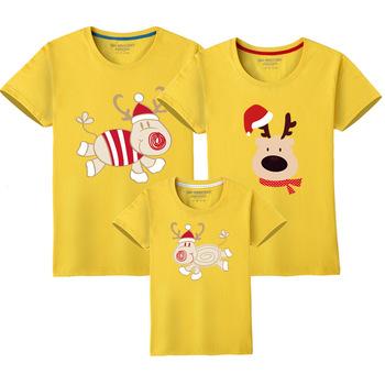 Dopasowane rodzinne stroje boże narodzenie Deer ojciec syn ubrania tata mama dziecko matka córka nowy rok pasujące wygląd rodziny t-shirty tanie i dobre opinie campure Damsko-męskie Koszulki 7-12m 13-24m 25-36m 4-6y 7-12y 12 + y COTTON CN (pochodzenie) CZTERY PORY ROKU moda SHORT