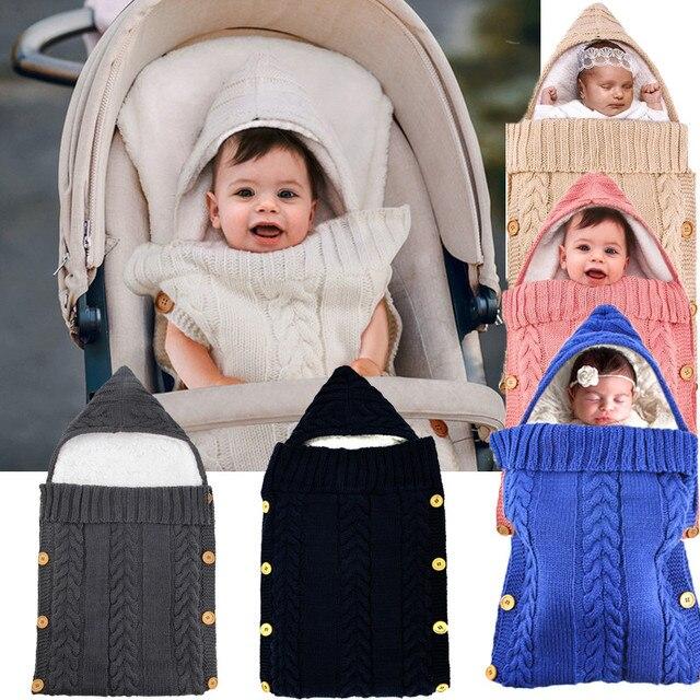 เด็กทารกเด็กแรกเกิดกระเป๋าฤดูหนาวขนแกะ Swaddle ผ้าห่มขนาดใหญ่รถเข็นเด็ก Wrap สำหรับชายหญิงถัก Sleep Sack