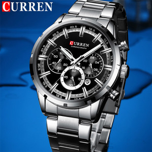 Image 2 - CURREN Sport Man WristWatch Calendar Chronograph Men Watch Military Army Top Brand Luxury Stainless Steel Casual Male Clock 8355