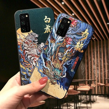 Перейти на Алиэкспресс и купить Чехол для Huawei Honor 30 Pro Plus V30 V20 V10 20 Lite 20i 20S Nova 6 5T 4e X10 Max, противоударный чехол с тиснением и рисунком дракона