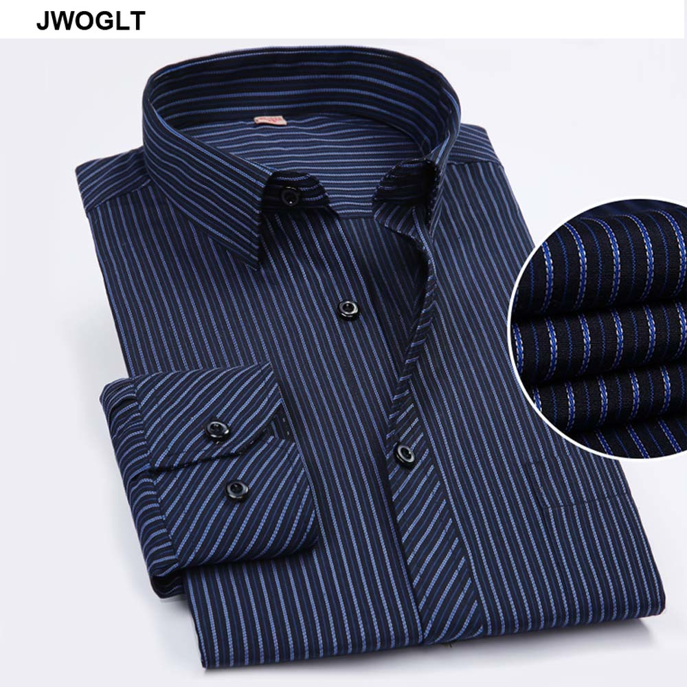 45KG-130KG Spring Autumn Fashion Work Men Long Sleeve Shirt Casual Design Button Down Formal Striped Dress Shirts 6XL 7XL 9XL