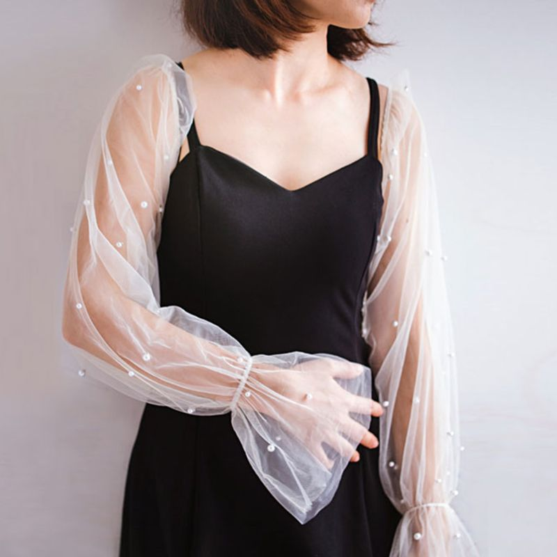 Korean Women Elegant Lace Detachable Elastic False Long Puff Sleeves Imitation Pearl Beaded Decorative Sunscreen Loose Arm Cover