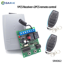 2 ערוץ 12V 24V DC RF מקלט מתגלגל קוד משדר הפקודה מוסך שער מנוע מקלט 433.92 mhz עם שלט רחוק
