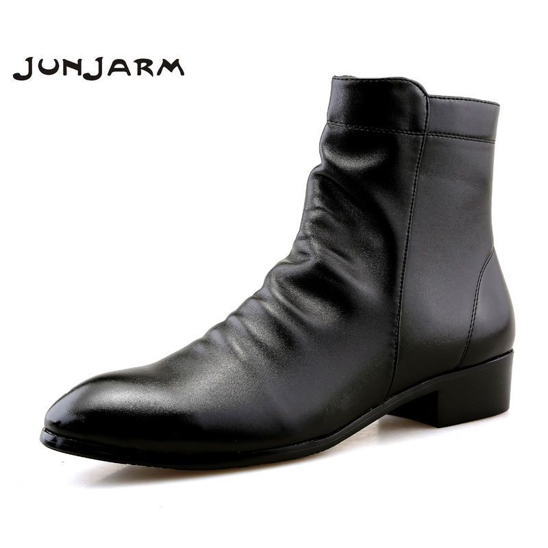 JUNJARM Fashion Men Ankle Boots Soft Leather Men Boots Men Waterproof Warm Shoes Black Comfortable Men Footwear
