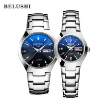 Watches Dual-Calender Belushi Quartz Women Luxury Lovers for And Week-Steel Couple Relogios