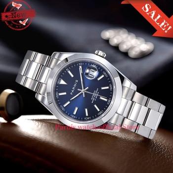 цена Fashion Parnis 39.5mm gray Dial Men's Watches Miyota 8215 Movement Automatic Mechanical Men Watch Calendar man clock 2020 box онлайн в 2017 году