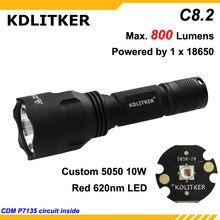Kdlitker c8.2-cor vermelho 620nm 800 lumens acampamento caça lanterna led-preto (1x18650)