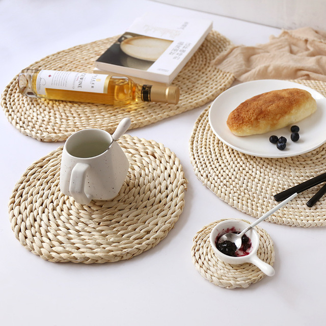 Corn fur woven Dining Table Mat Heat Insulation Pot Holder Round Coasters Coffee Drink Tea Cup Table Placemats Mug Coaster WY102