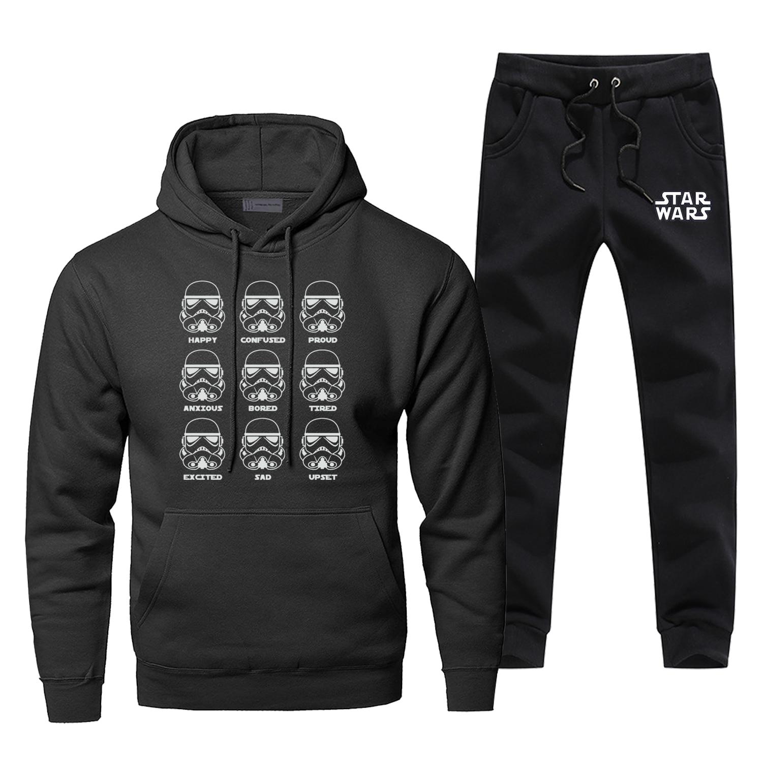 Fashion Star Wars Sweatshirt Funny Stormtrooper Emotions Hoodies Pants Sets Men Hip Hop Fleece Sportswear Harajuku Streetwear