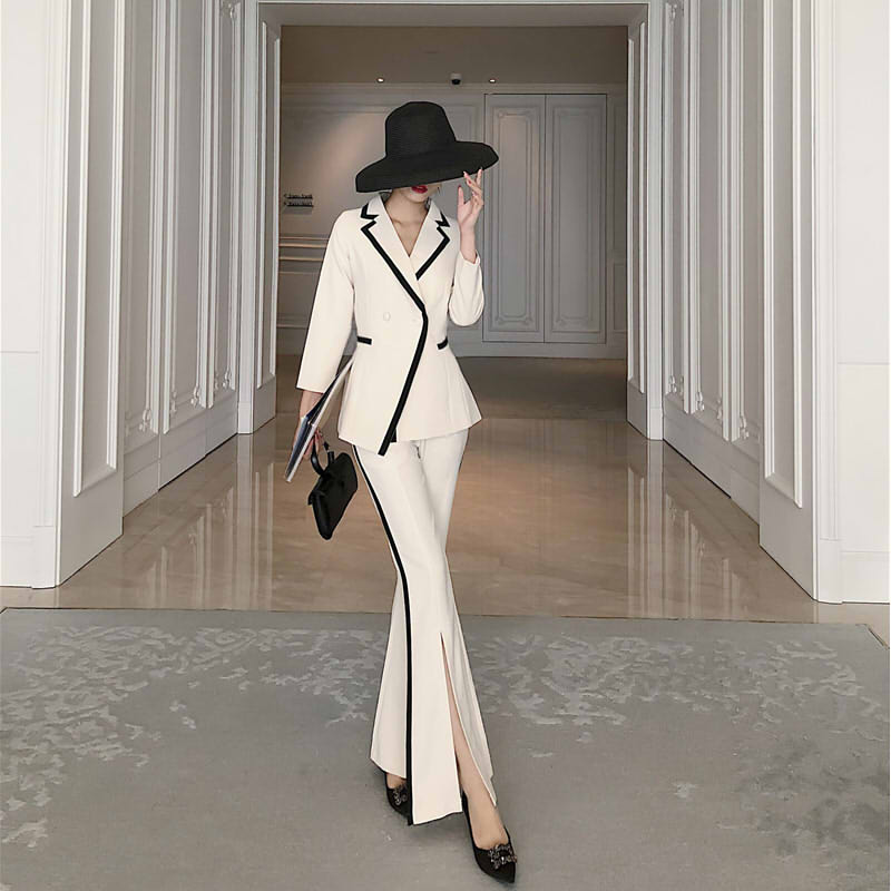 Two Piece Set Women's Suit New Style Slim Fit Pants Open Split Fashion Western Assembly Flared Pants 2 Piece Sets Womens Outfits