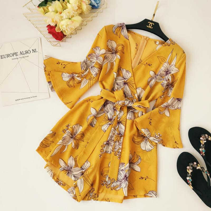 Fashion Floral Print Short Playsuits Women Casual Bow Wide Leg Jumpsuit Female Lace Up Bandage Yellow Romper Ladies Summer Beach
