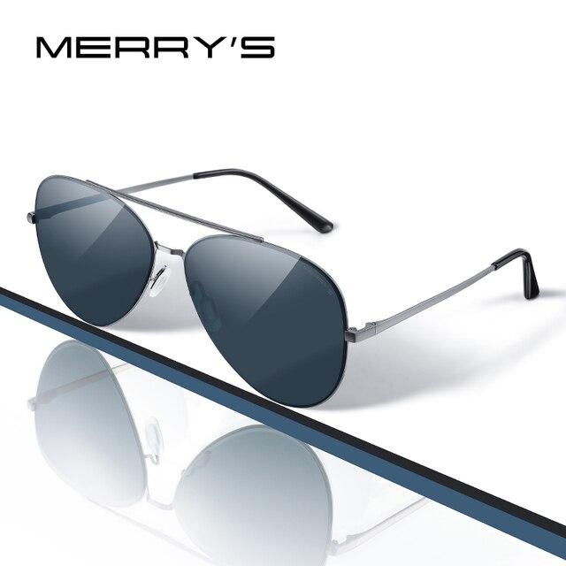 MERRYS 디자인 남자 클래식 파일럿 선글라스 CR39 HD 편광 렌즈 망 안경 운전 UV400 보호 S8226