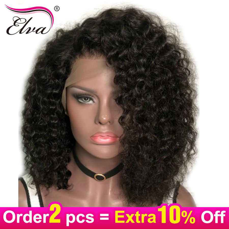 Short Human Hair Wigs For Black Women Curly Lace Front Human Hair Wigs Brazilian Lace Front Wig With Pre Plucked Baby Hair Elva