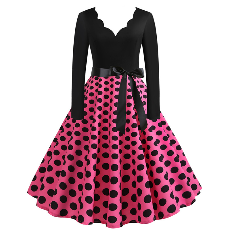 Women Long Sleeve Winter Vintage Dresses Sexy Black Music Note Print V-neck Rockabilly Pin up Party Dress Vestidos Plus size 575