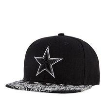 Fashion Pentagonal Star Baseball Cap for Men Women Hip Hop Rap Hat Black
