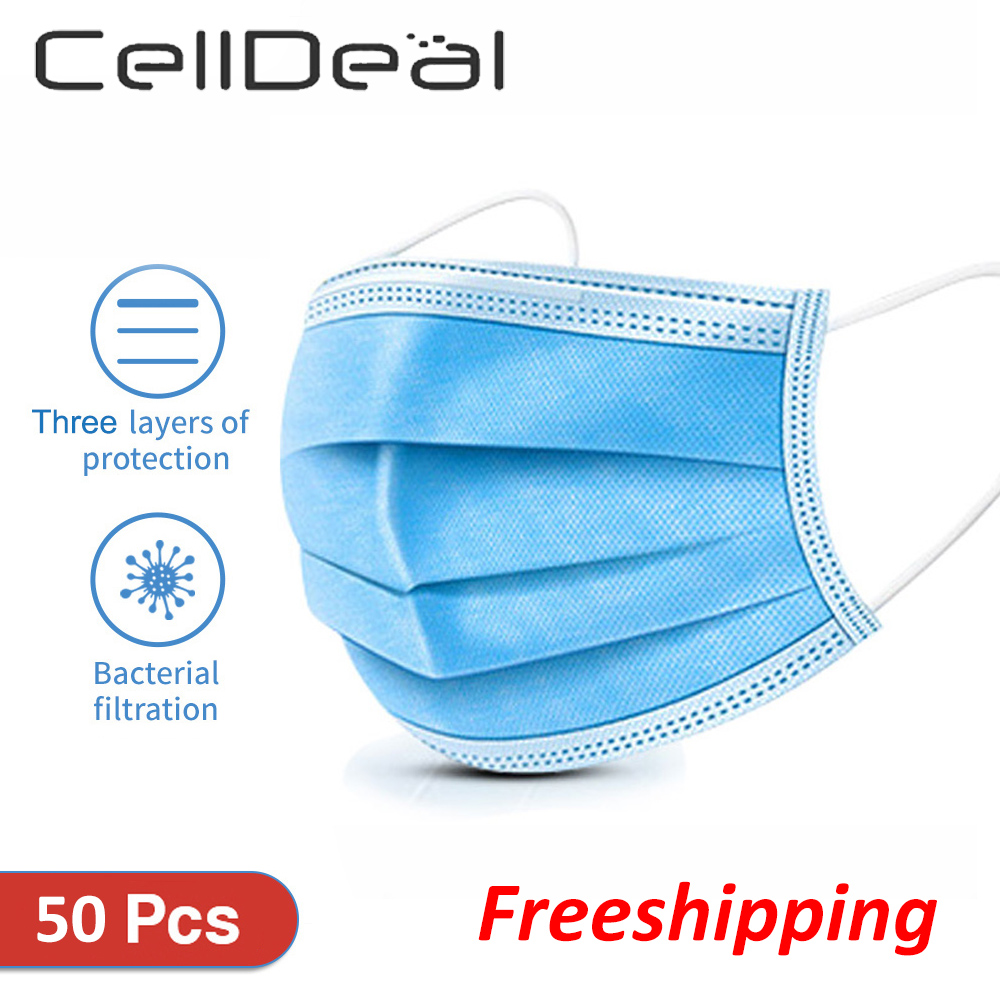 CellDeal 50 PCS 3 Layers Daily Protect Mask Dust-Proof Safety Masks Protective Face Mouth Masks Facial Unisex Cotton Microfiber