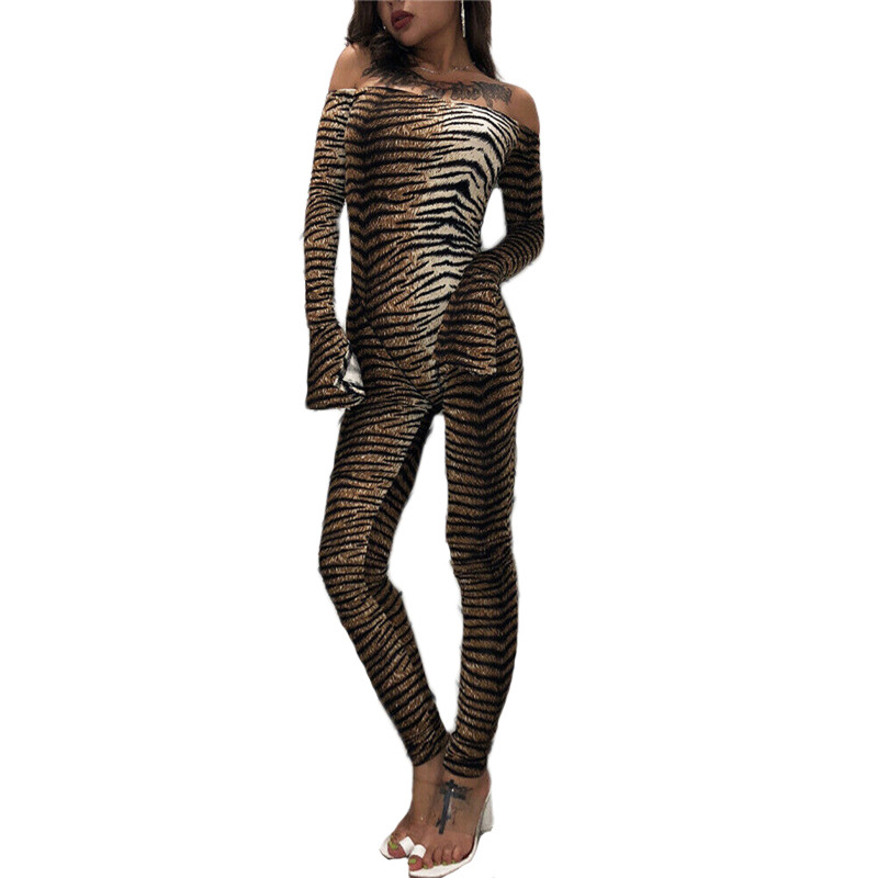 Womens Long Sleeve Off Shoulder Leopard Tiger Printed Leotard Jumpsuit Bodysuit Romper Autumn Women Playsuits