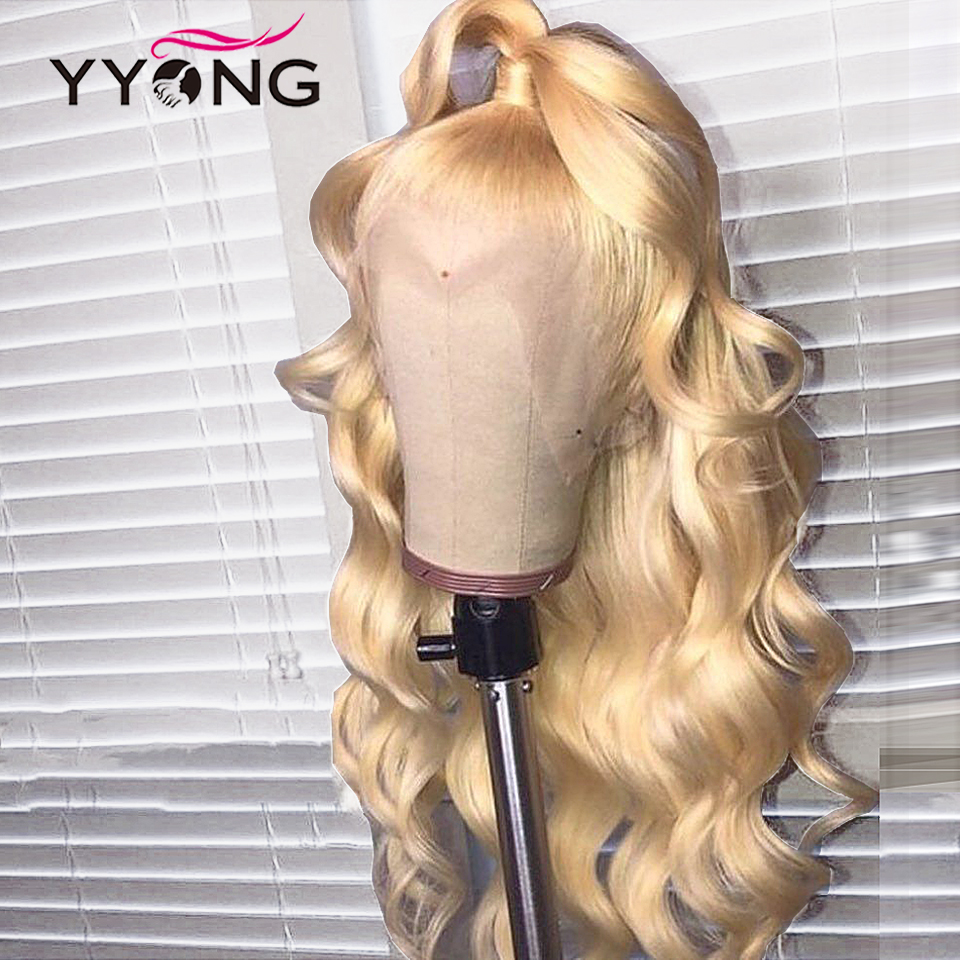 YYong613 Blond Lace Front  Wig  613 Body Wave Lace Closure Wig Pre Pluckeded Hairline  Can Be Colored 1