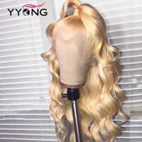 YYong613-Peluca de cabello humano con cierre frontal para mujer, postizo de onda de encaje frontal, pelo Remy predespuntado con cierre, puede teñirse, 613