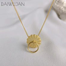 DAIWUJAN Original 925 Sterling Sliver Flower Pendant Necklaces Gold Color Circle Link Chain Necklace For Women Jewelry 2019(China)