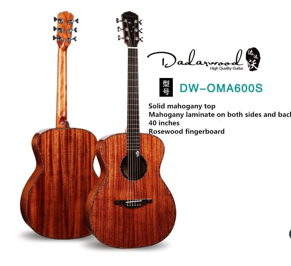 Usine chinoise Dadarwood marque OMA600s solide acajou haut acoustique guitare acoustique, 40 pouces