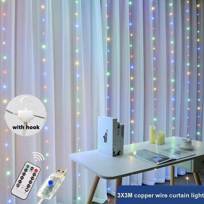 3x3 Remote Led Curtain Fairy Lights Usb