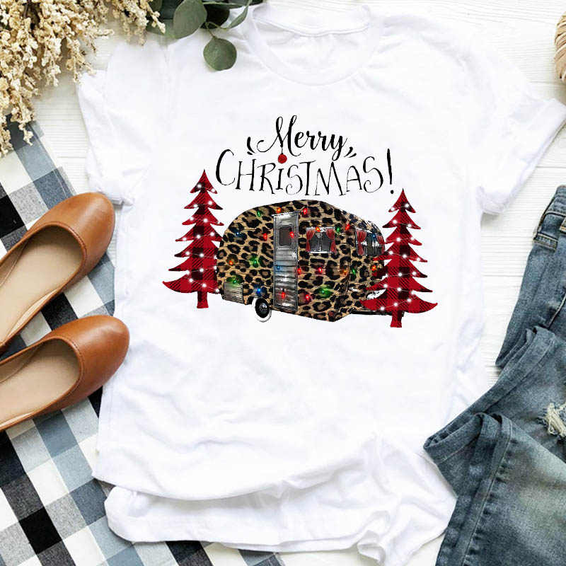 Women Lady Leopard Tree Truck 90s Holiday Autumn Winter Merry Christmas Clothes Shirt T Tee Tshirt Female Top Graphic T-shirt 1