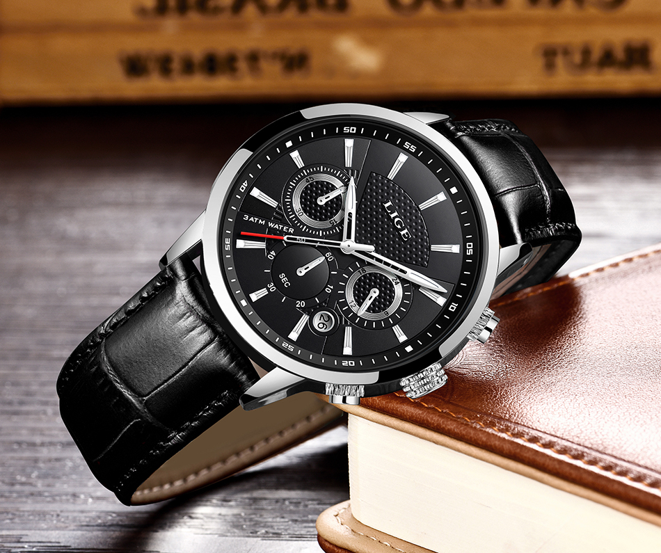 H7d0bd47fd05a418d8d559d81837bd6aee LIGE New Men Watch Top Brand Blue Leather Chronograph Waterproof Sport Automatic Date Quartz Watches For Mens Relogio Masculino