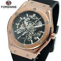 FORSINING sport militaire Auto montre mécanique hommes bracelet en silicone squelette hommes montres haut de gamme marque de luxe HIP HOP Punk horloge
