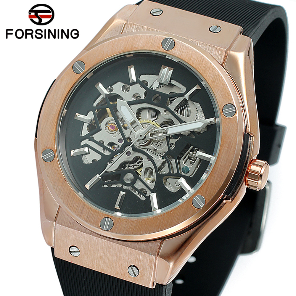 FORSINING Military Sports Auto Mechanical Watch Men Silicone Strap Skeleton Mens Watches Top Brand Luxury HIP HOP Punk Clock