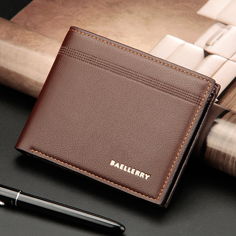 Business Casual Men Wallet Good Quality Leather Men Purse Short Male Clutch Leather Wallets Mens Money Bag Card Holder Gift