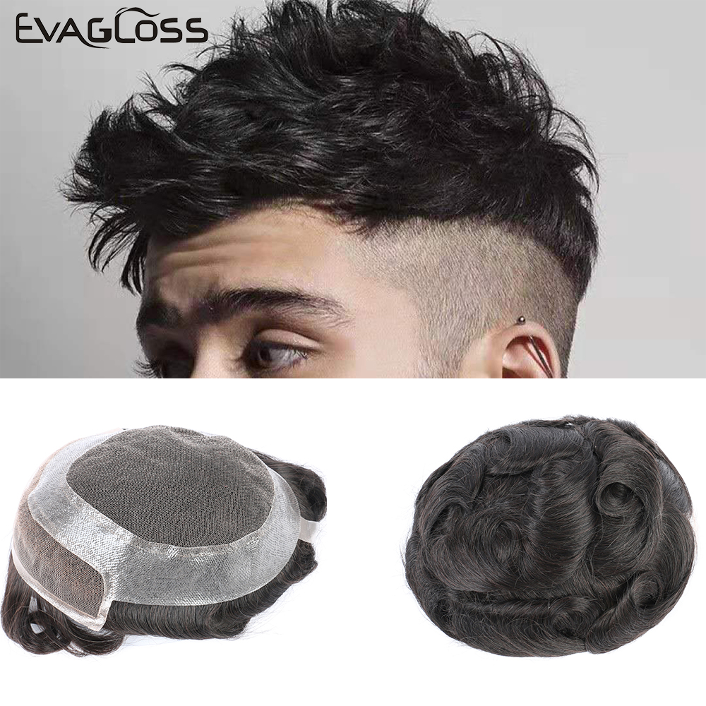 EVAGLOSS Human Hair Mens Toupee Swiss Lace Front With Skin Hollywood Men Wig Hair System For Men Free Shipping