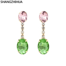 Simple colored stone earrings fashion street photo earrings jewelry ladies' favorite SHANGZHIHUA