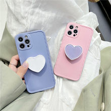 Cute Love Heart Bracket Phone Case for Huawei P30 P40 Mate 30 40 Nova 5 7 Pro Protective Shell Soft Pure Color Cover Kickstand