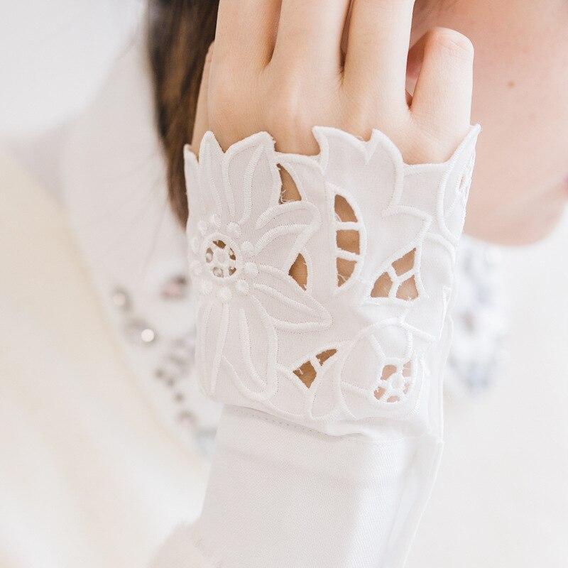 Mesh Hollow Sweater Women Sunscreen Out Sleeves  Ladies Sunscreen Fake Collar Horn Fake Long