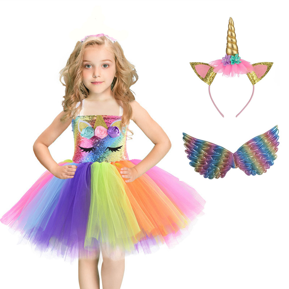 New Year Christmas Halloween Cosplay Costume Unicorn Sequins Girl Jumpsuit Princess Tutu Dress Birthday Party Purim Gift