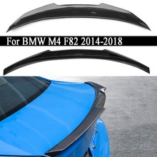 Carro de fibra carbono asa traseira tronco tampa spoiler asa para bmw m4 f82 2014 2015 2016 2017 2018