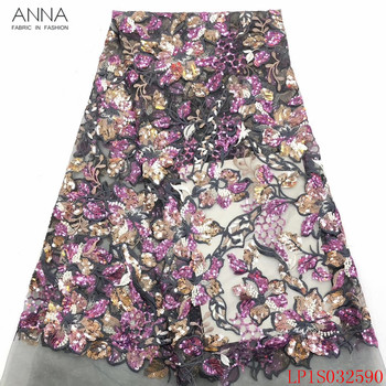 Anna popular african sequins lace fabric 2020 high quality embroidered 5 yards/pcs french tulle laces fabrics for garment sewing